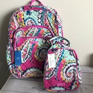 New Vera Bradley backpack lunch tote SET